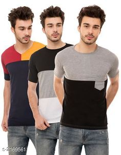 Tshirts Men's Cotton Blend T-shirts  ( Pack Of 3 ) Fabric: Cotton Blend Sleeves: Half Sleeves Are Included Size: S M L XL (Refer Size Chart)  Length: Refer Size Chart Fit: Regular Fit Type: Stitched Description: It Has 3 Pieces of Men's T-Shirts Pattern: Solid Country of Origin: India Sizes Available: S, M, L, XL   Catalog Rating: ★4.1 (475)  Catalog Name: Trendy Men's Cotton Blend T-shirts Combo Vol 3 CatalogID_288025 C70-SC1205 Code: 794-2169561-9621