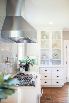 I really really really like the feel of this kitchen; From Our Favorite HGTV Fixer Upper Interior Design Moments - Style Me Pretty Living House Design, Decor, Interior Design, Home, Interior, Living Room Paint, Fixer Upper Kitchen, Home Decor, Nut House