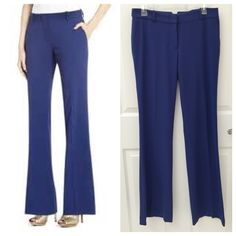 BCBGMaxAzria Randall Skinny Flare Pant BCBG Max Azria Randall Skinny Flare Pant in Blue Depth, Size S, excellent condition, comes from a smoke free home. Measurements: Waist 15 1/2 in, Hips 19 in, Inseam 34 in.  Add this fun flare for a look that grooves from office to after-party.  Mid-rise waist. Flared leg. Button-tab detail at back. Slash pockets. Front zipper with hook-and-bar closure. Crepe: Polyester, Rayon, Spandex. Lining: Polyester, Spandex. Hand Wash. BCBGMaxAzria Pants