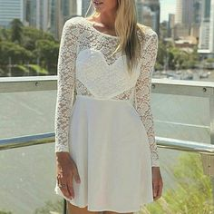 NWOT long sleeve lace dress Super cute white long sleeve lace dress! Will fit small to medium! Brand new. Stunning and very comfortable! Dresses