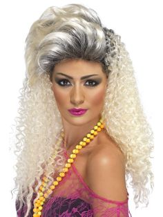 Smiffy's Bottle Blonde Wig Cosplay Party Halloween Hair Curly with Quiff 1980s Fancy Dress, Fancy Dress Wigs, Ladies Fancy Dress, 80s Dress, Curly Wigs, Long Curly Hair, Curly Hair Styles, Blonde Wig, Curly Blonde