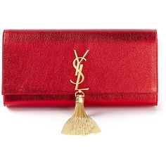 Saint Laurent 'Classic Monogram' clutch (€1.410) ❤ liked on Polyvore featuring bags, handbags, clutches, bolsas, purses, red, red leather purse, leather handbags, leather man bags and handbags clutches