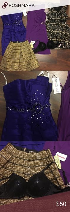 Party clothes bundle Tony Bowls (SOLD), Jennifer Lopez body con purple dress: size small worn once, Material Girl fit-n-flare dress: size medium worn twice, TJ Maxx skirt WITH TAGS: never worn obviously haha, lastly, VS PINK Black sparkly bra: push up, size 34A/32B to make sure boobs big worn once, super cute!!!! Jennifer Lopez Dresses Mini