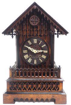 Rare Gallery Cuckoo Mantel Clock – German Black Forest Carved Bracket Clock   767624   Sellingantiques.co.uk Antique Mantle Clock, Antique Photos, Black Forest, Clocks, German, Carving, Display, Antiques, Gallery
