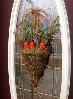 "Spring Wreath Easter Wreath Summer Grapevine Door Basket Wreath Decor..""Garden Carrots""."