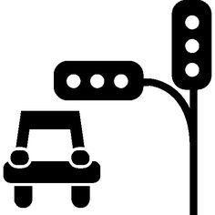 Semaphore and a car I Free Icon