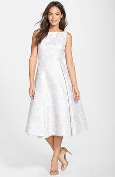 Adrianna Papell Metallic Floral Jacquard Tea Length Fit & Flare Dress