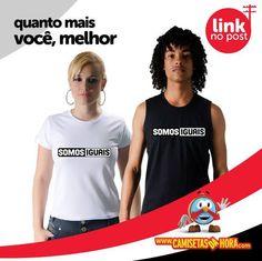 Camiseta Somos Iguais : As pessoas não querem ser tristes nem felizes, querem ser iguais. Até o desejo de ser diferente, nada mais é que a vontade de igualar-se aos que não estão por perto.  http://www.camisetasdahora.com/p-4-146-4061/Camiseta---Somos-iguais | camisetasdahora