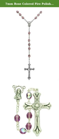 7mm Rose Colored Fire Polished Glass Beads and Madonna Center Rosary. 7mm Amethyst Fire Polished Crystal Beads and Madonna Center Rosary. Silver Plated Center and Crucifix Gift Boxed.
