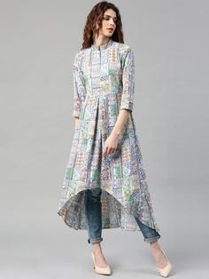 Buy Libas Women Multicoloured Printed High Low Hem A Line Kurta - - Apparel for Women from Libas at Rs. 1599