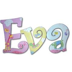 Eva Jungle Luv Hand Painted Wooden Hanging Wall Letters