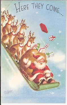 Vintage Christmas Card by Marjorie Cooper ~ Santa & Crew on a Sled! Vintage Christmas Images, Retro Christmas, Christmas Pictures, Christmas Art, Christmas Decorations, Vintage Holiday, Christmas Mantles, Christmas Villages, Silver Christmas