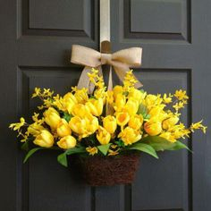 Items similar to spring wreath Easter wreath tulips wreath front door decorations wall decor yellow tulips wreaths on Etsy Forsythia Wreath, Tulip Wreath, Flower Wreaths, Wreaths For Front Door, Door Wreaths, Wreath Crafts, Summer Wreath, Spring Wreaths, Easter Wreaths