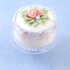 Miniature White Cake w/Pink Bows on a Glass Cake Stand | Stewart Dollhouse Creations