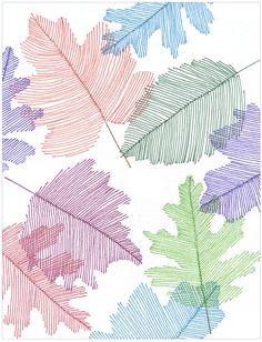 Kids Autumn Art lesson: Line-art leaves