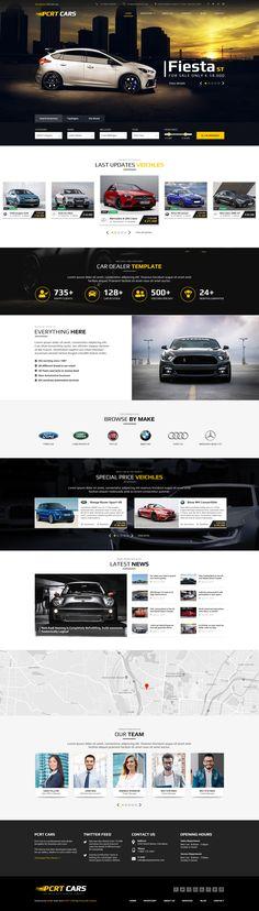 Pcrt Cars - Automotive Car Dealer PSD Template Drupal, Create Website, Car Shop, Cool Fonts, Car Detailing, Psd Templates, Business Design, Photoshop, Cars