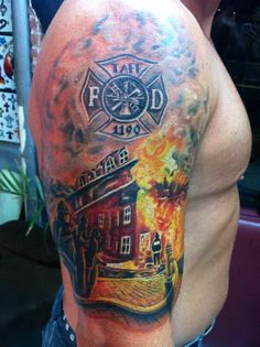 Fire Dept. Custom Tattoo ~ Re-Pinned by Crossed Irons Fitness