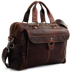 """Travel first class with this spacious Voyager Buffalo Leather Business Travel Bag from Jack Georges. The top zipper opens wide to reveal a fabric-lined main compartment that includes a padded 15"""" lapt"""