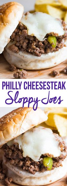 All the deliciousness of the famous Philly Cheesesteak sandwich, wrapped up in a messy sloppy joe made with ground beef and peppers.