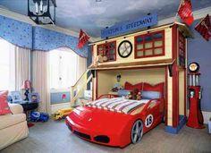 chamnre enfant avec lit-voiture