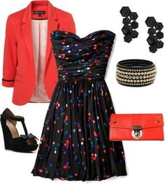 loving the dotted dress ... i dont really wear blazers but this is all cute together