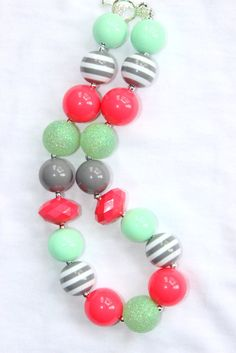 chunky bead necklace bubblegum necklace by LightningBugsLane