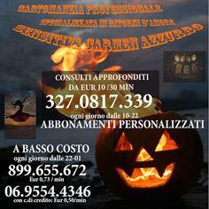 PROMOZIONE DI HALLOWEEN! PER I CLIENTI ABITUALI: ABBONAMENTO MENSILE X OTTENERE SCONTI PERSONALIZZATI.  PER I CLIENTI NUOVI IL PRIMO CONSULTO APPROFONDITO  €10/30min Per info e prenotazione chiamami: 327.0817.339 dalle 10 alle 22. #cartomanzia #tarocchi #chiaroveggenza #cartomanziabassocosto #sensitiva #cartomante https://www.facebook.com/sensitivacarmenazzurro