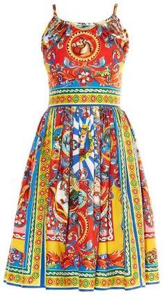 DOLCE & GABBANA Carretto-print sleeveless dress