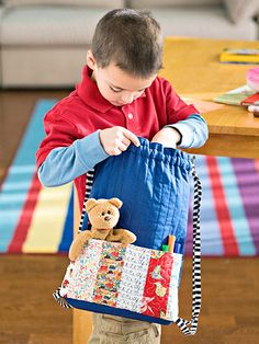 Your little one will love carrying all his goodies around in this creative backpack.