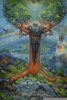 When Odin was still young - before he had hanged himself on Yggdrasil and drunk from the Well of Wisdom - his eyes had fallen on a jotun named Loki. - D'Aularies' book of Norse Myths.