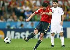 Spain 2 Greece 1 in 2008 in Salzburg. Dani Guiza drills the ball home on 88 minutes and Spain lead 2-1 in Group D at Euro 2008.