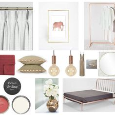 Coral and gold bedroom scheme. e-design.