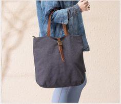 Handmade Canvas Tote Bag Handbag for Women Messenger Bag in Dark Gray 14099 - LISABAG