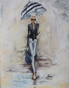 Acrylic Painting,Delightful Limited edition Print. Lady in rain with umbrella…