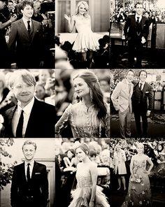 Daniel Radcliffe, Evanna Lynch, Matthew Lewis, Rupert Grint, Bonnie Wright, James and Oliver Phelps, Tom Felton, Emma Watson, J.K. Rowling.