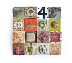 mixed media assemblage, wooden wall art, wood blocks, wood collage, architectural salvage, ORIGINAL ART by Elizabeth Rosen