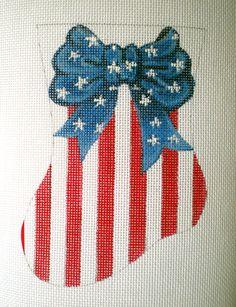 Stars and Stripes Needlepoint mini stkg canvas