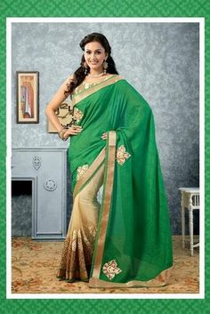 Classy Beige and Green #Jacquard and Net Saree