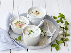 Kylmä kesäkeitto Kefir, Panna Cotta, Appetizers, Ethnic Recipes, Food, Recipes, Dulce De Leche, Appetizer, Essen