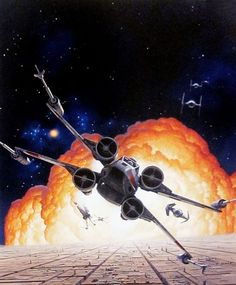 Star Wars merchandise art by Ralph McQuarrie. This one was for the 1989 Star Wars Amiga game. Star Wars Pc, Nave Star Wars, Star Wars Ships, Star Wars Poster, Star Wars Clone Wars, Lego Star Wars, Star Trek, Star Wars Pictures, Star Wars Images