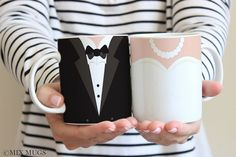 50 Cute Couples Mugs and His and Hers Coffee Cups! Diy Wedding Deco, Wedding Mugs, Wedding Gifts, Couples Coffee Mugs, Couple Mugs, Engagement Couple, Engagement Gifts, Halloween Mug, Bridal Shower Gifts