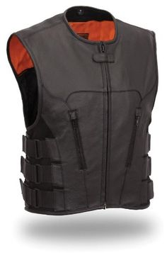 Save $ 10 order now First MFG Men's Updated SWAT Team Style Leather Vest.