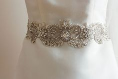 Bridal dress sash in offwhite ivory and silver by EnrichbyMillie