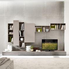 Wohnzimmermöbel grau TV Wohnwand Betonwand