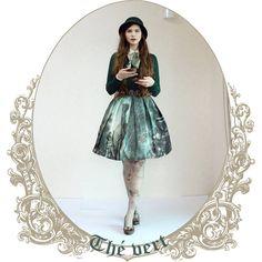 Next outfit of the tea series: green tea. #fannyrosie #fashion #jfashion #classiclolita #vintage #vintagestyle #julietteetjustine #lordandtaylor #rudsak #grimoire #verum #tea #greentea #axesfemme #style