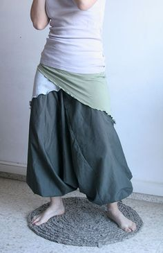 Harem pants with stretchy belt color green by lunalin on Etsy, $58.00
