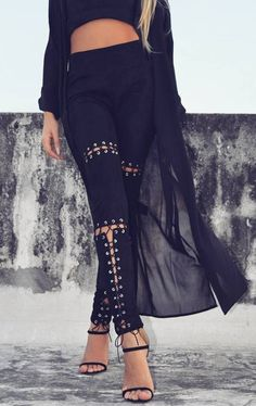Fashion Lace Up Stretchy Skinny Pant