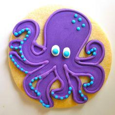 Octopus Cookies              by JesicakesBaking, via Flickr, Purple octopus