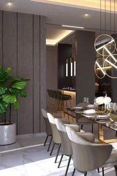 Flat Interior Design, Modern Apartment Design, Interior Design Living Room, Living Room Decor, Interior Decorating, Luxury Dining Tables, Family Dining Rooms, Panelling, Dining Room Design