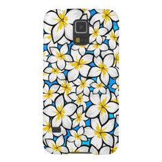 A pretty phone case for the Samsung Galaxy S5 with a bright yellow and white frangipani art on a two tone blue background